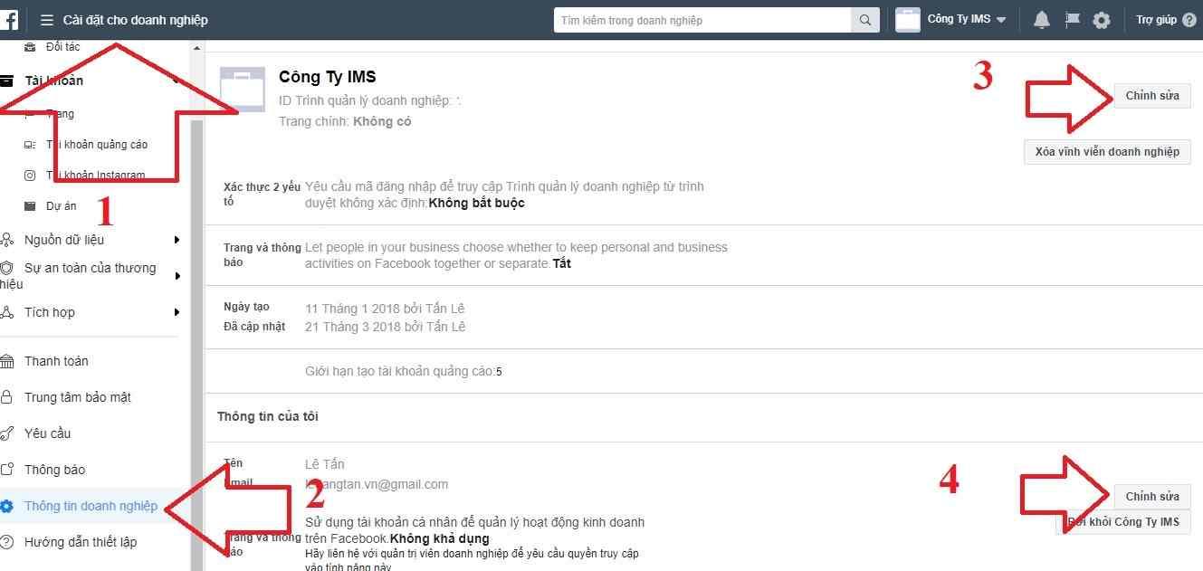 Cài đặt thông tin tài khoản quảng cáo Facebook BM